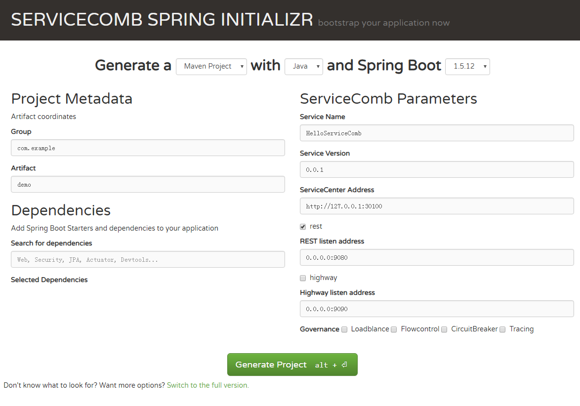 SERVICECOMB SPRING INITIALIZR截图